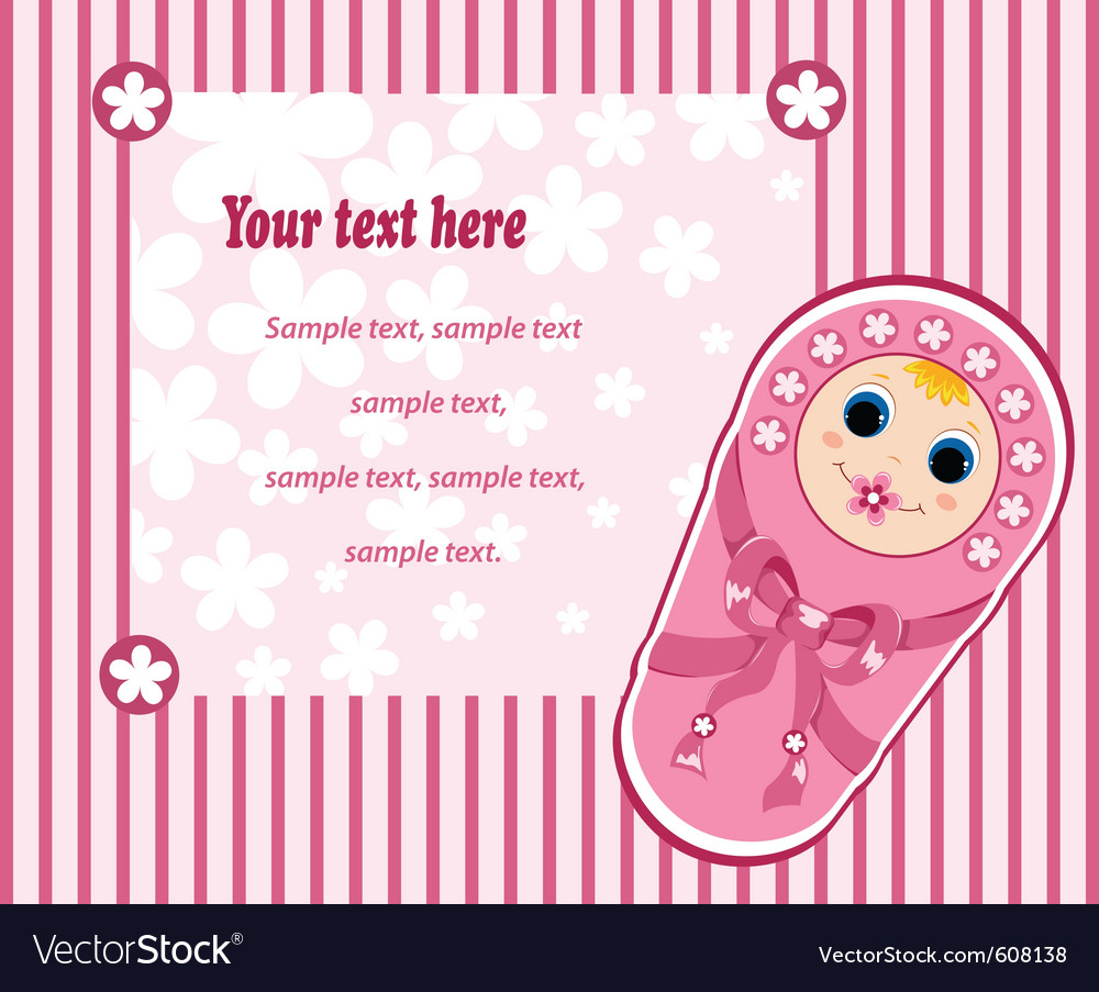 Baby girl card 3 vector | Price: 1 Credit (USD $1)
