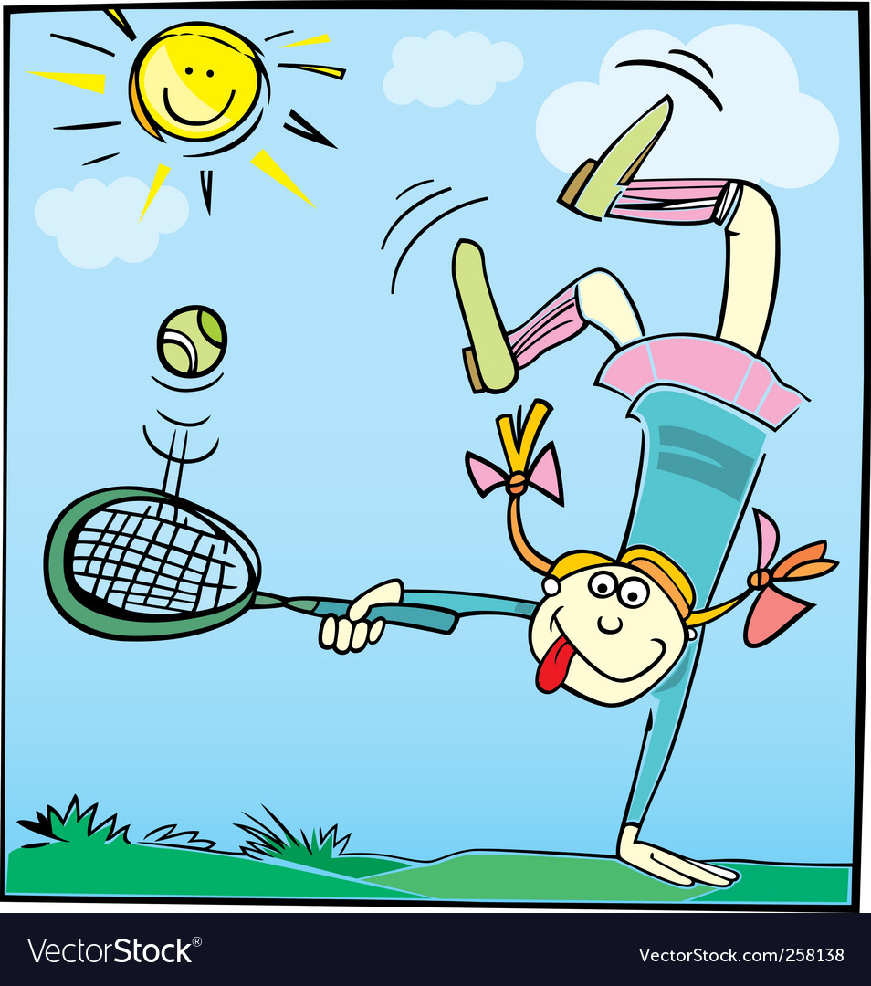 Cartoon girl playing tennis vector | Price: 1 Credit (USD $1)