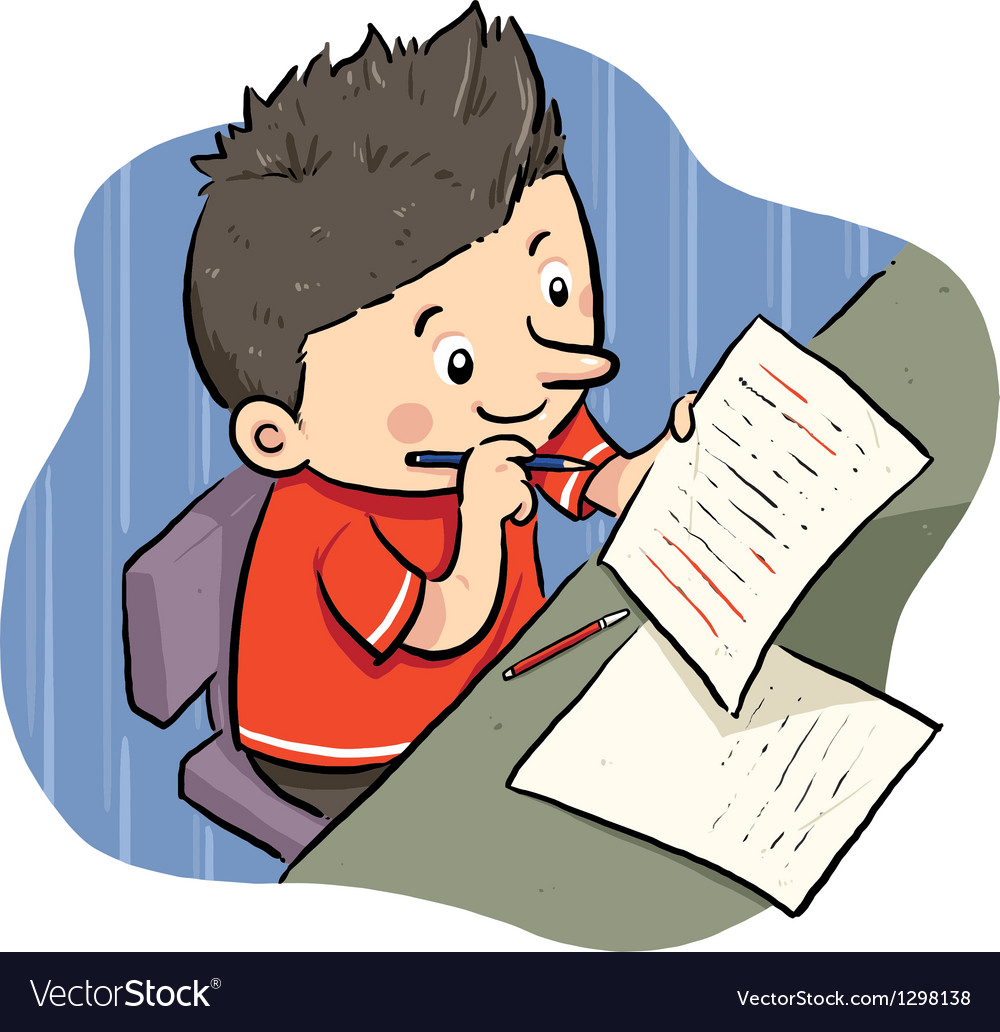 Doing homework vector | Price: 1 Credit (USD $1)