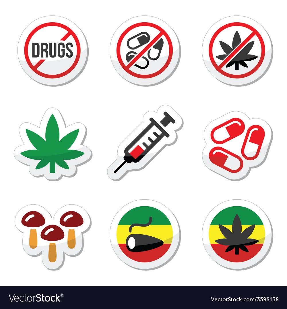 Drugs addiction marijuana syringe colorful labe vector   Price: 1 Credit (USD $1)