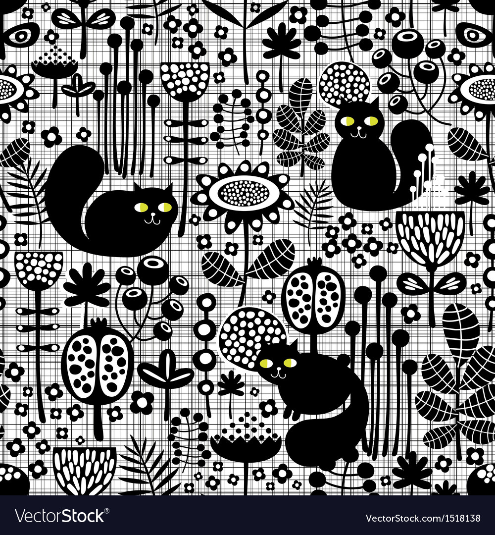 Seamless background with cute black cats vector | Price: 1 Credit (USD $1)
