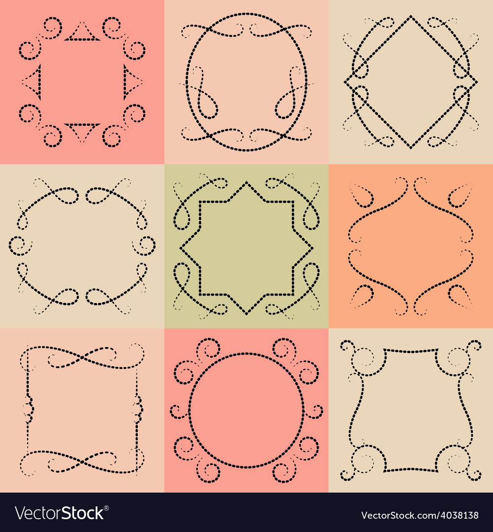 Set of monograms elegant outline borders and vector | Price: 1 Credit (USD $1)