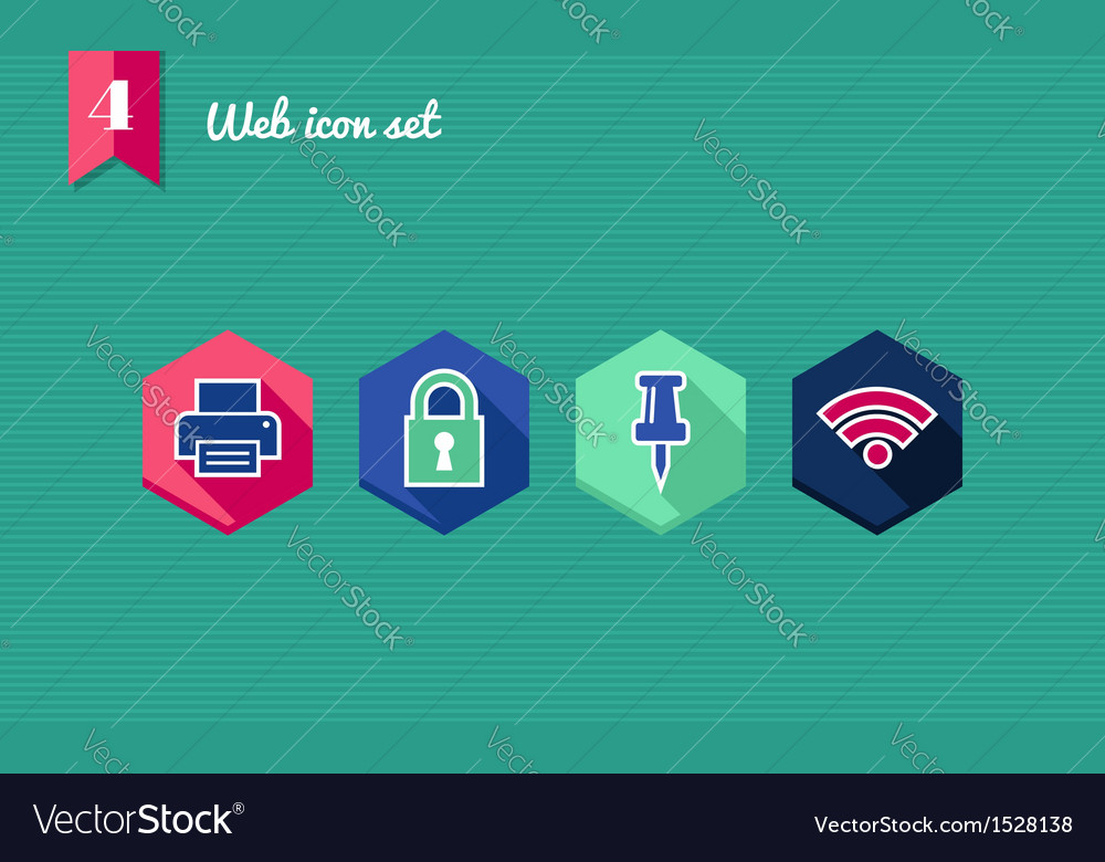 Web apps geometric flat icons set vector | Price: 1 Credit (USD $1)