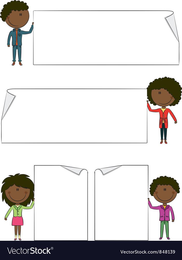 African-american kids vector | Price: 1 Credit (USD $1)