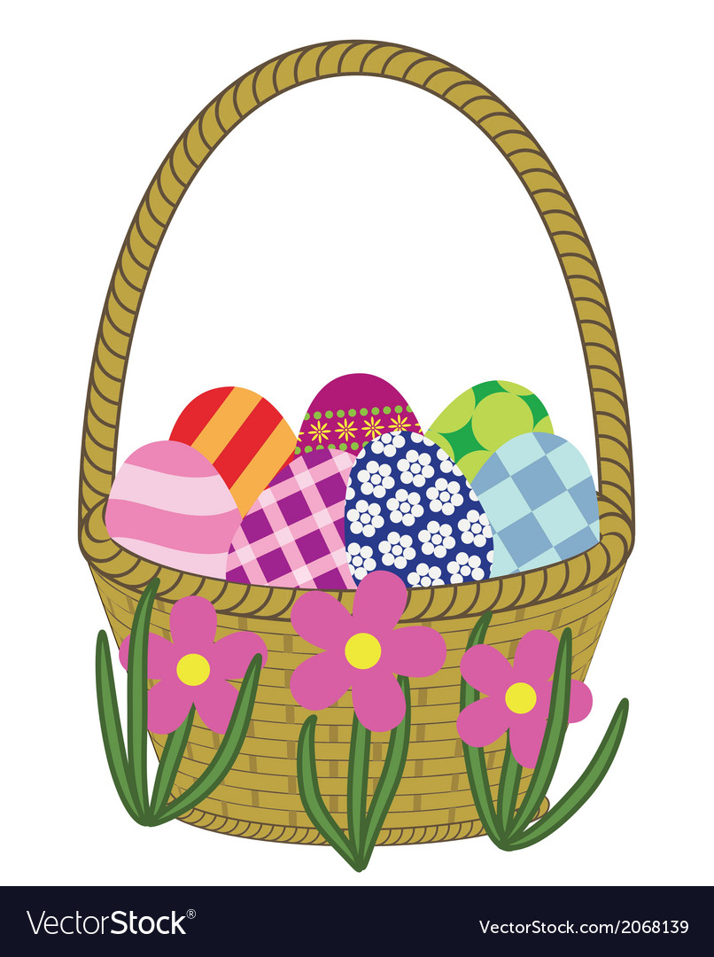Basket with easter eggs preview vector | Price: 1 Credit (USD $1)