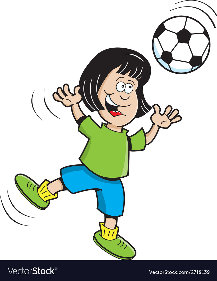 Cartoon soccer girl jumping vector | Price: 1 Credit (USD $1)