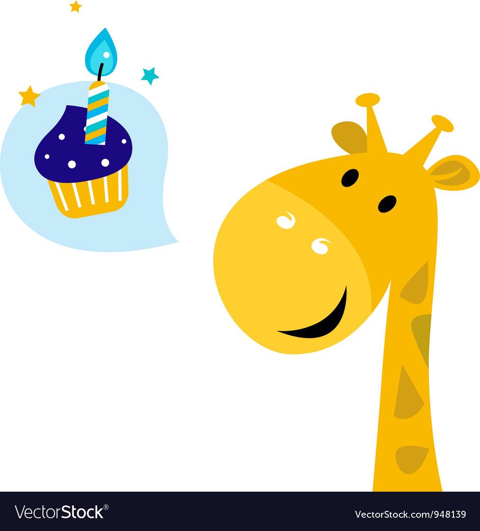 Cute cartoon party giraffe vector | Price: 1 Credit (USD $1)