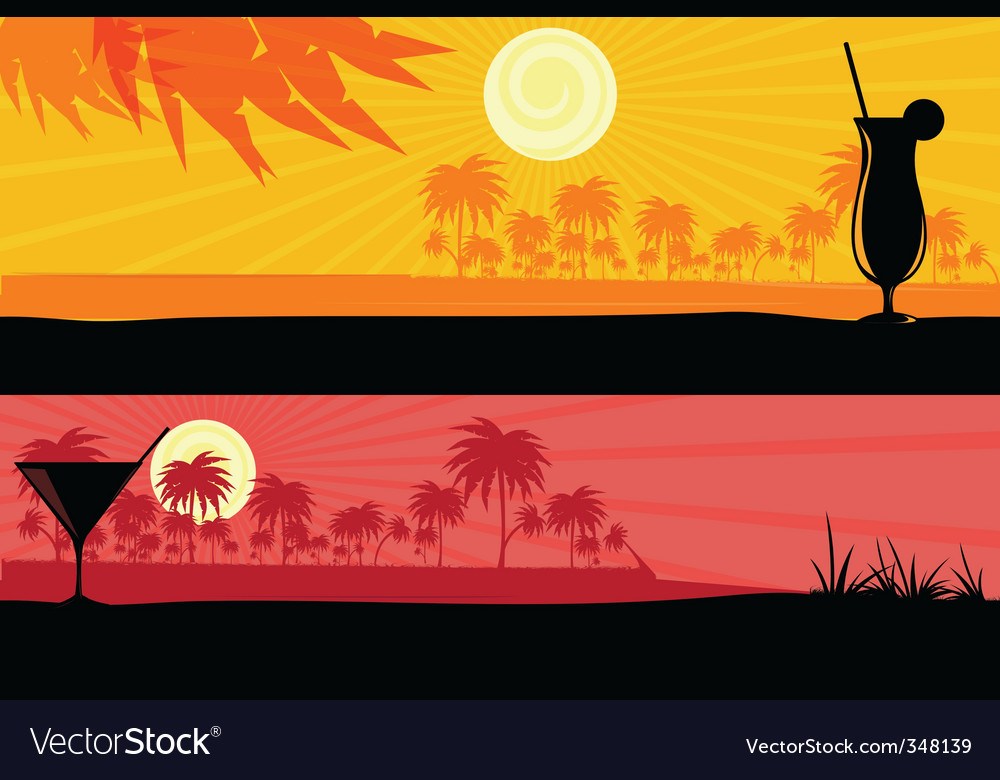 Morning amp evening scenes vector | Price: 1 Credit (USD $1)