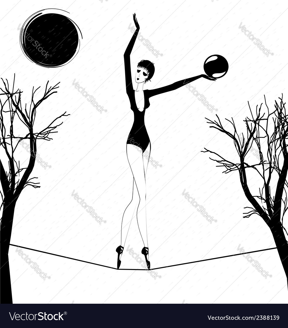 Rain and a strange girl with ball vector | Price: 1 Credit (USD $1)