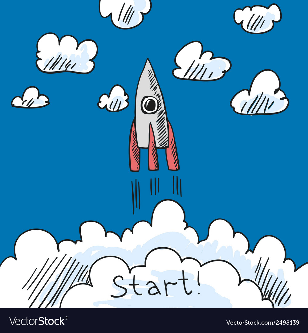 Rocket poster sketch vector | Price: 1 Credit (USD $1)