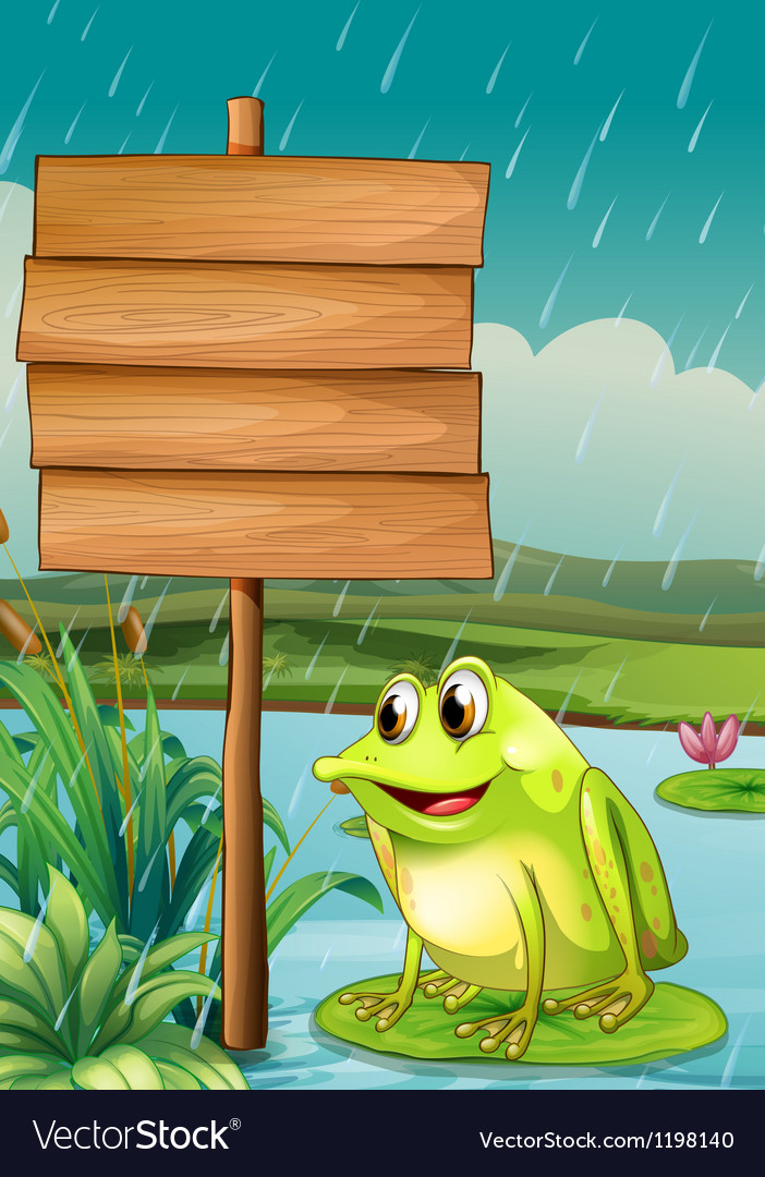 A frog near an empty wooden board vector | Price: 1 Credit (USD $1)
