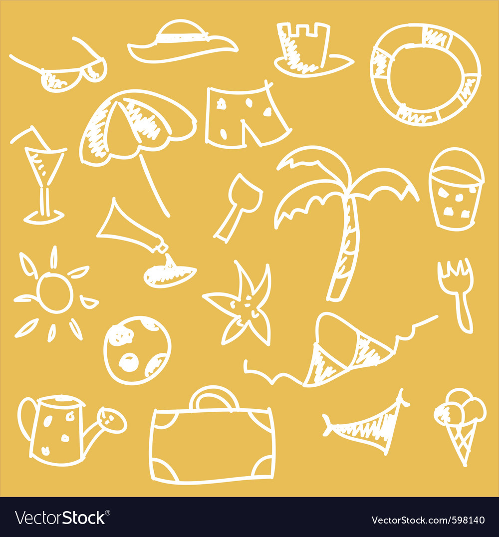 Beach sketches vector | Price: 1 Credit (USD $1)