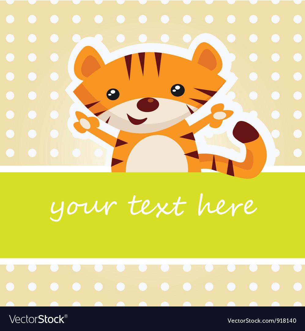 Cartoon tiger card vector   Price: 1 Credit (USD $1)