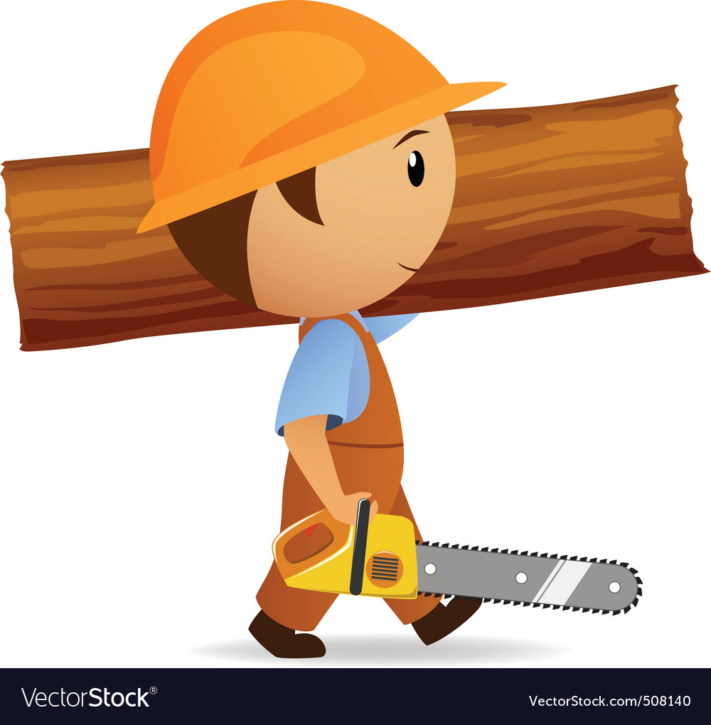 Cartoon woodcutter with chainsaw and trunk vector | Price: 1 Credit (USD $1)
