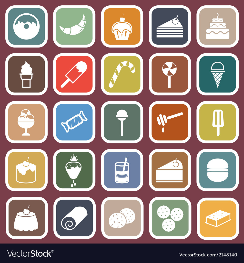 Dessert flat icons on dark background vector | Price: 1 Credit (USD $1)