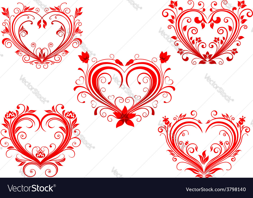 Elegant floral red valentine hearts set vector   Price: 1 Credit (USD $1)