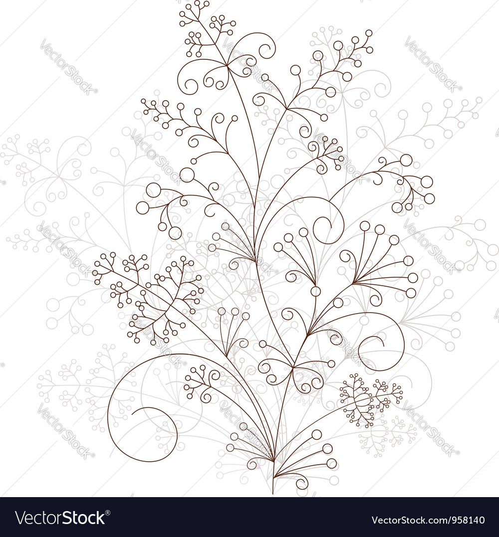 Floral design grassy ornament vector | Price: 1 Credit (USD $1)