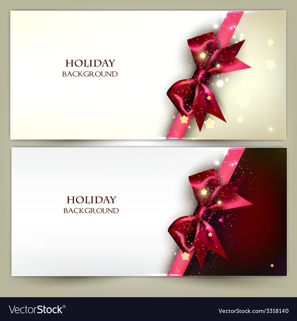 Holiday banners with red bows and copy space vector | Price: 3 Credit (USD $3)
