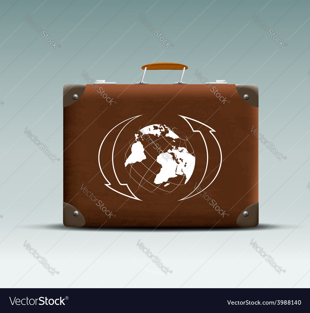 Leather suitcase with a tour sticker vector | Price: 1 Credit (USD $1)