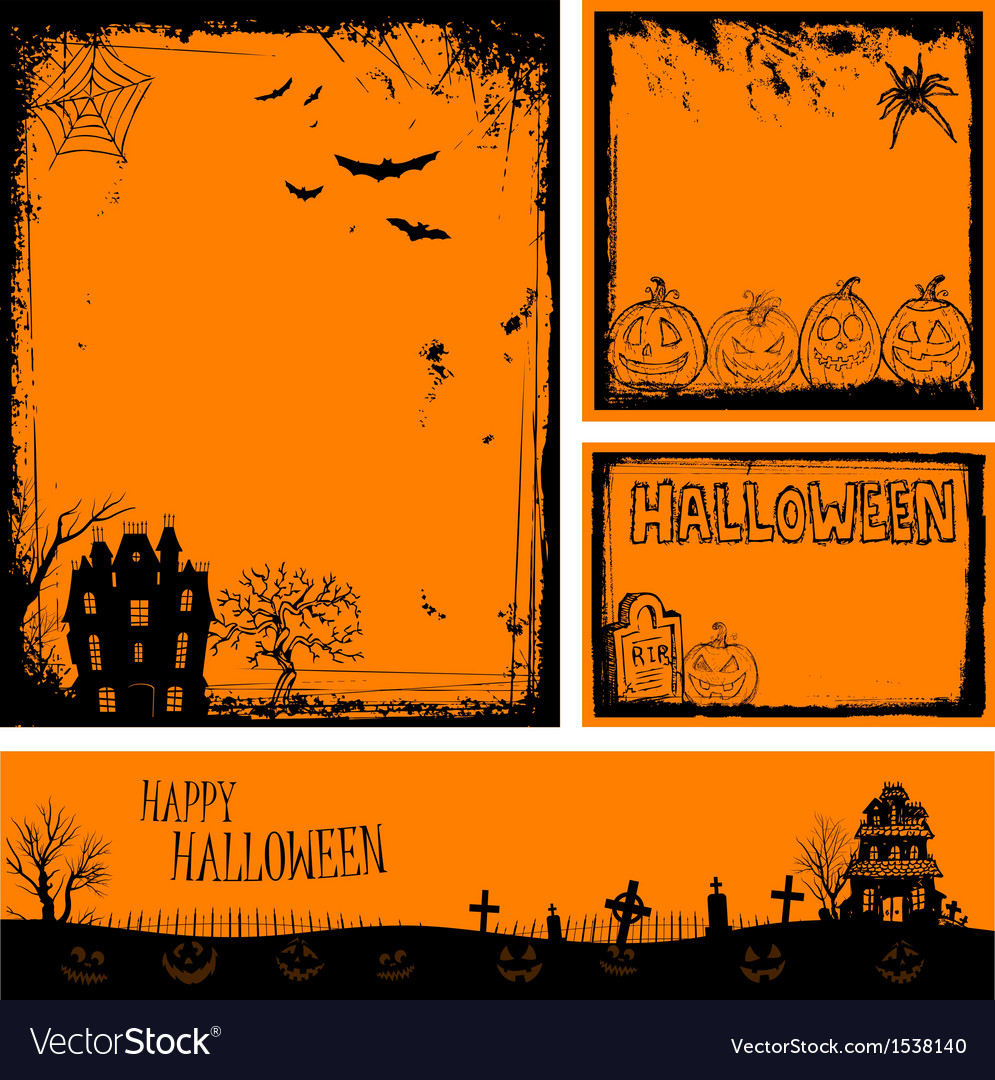 Multiple orange halloween banners and backgrounds vector