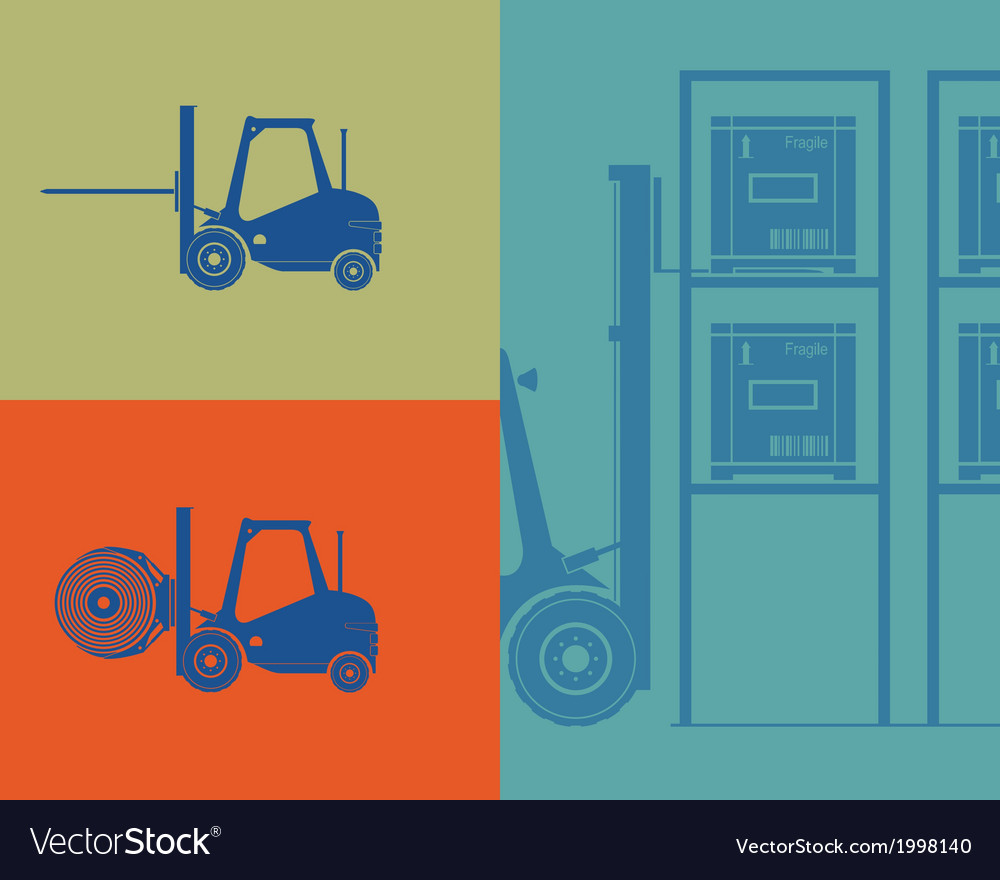 Silhouettes of forklifts forklift loading goods vector | Price: 1 Credit (USD $1)