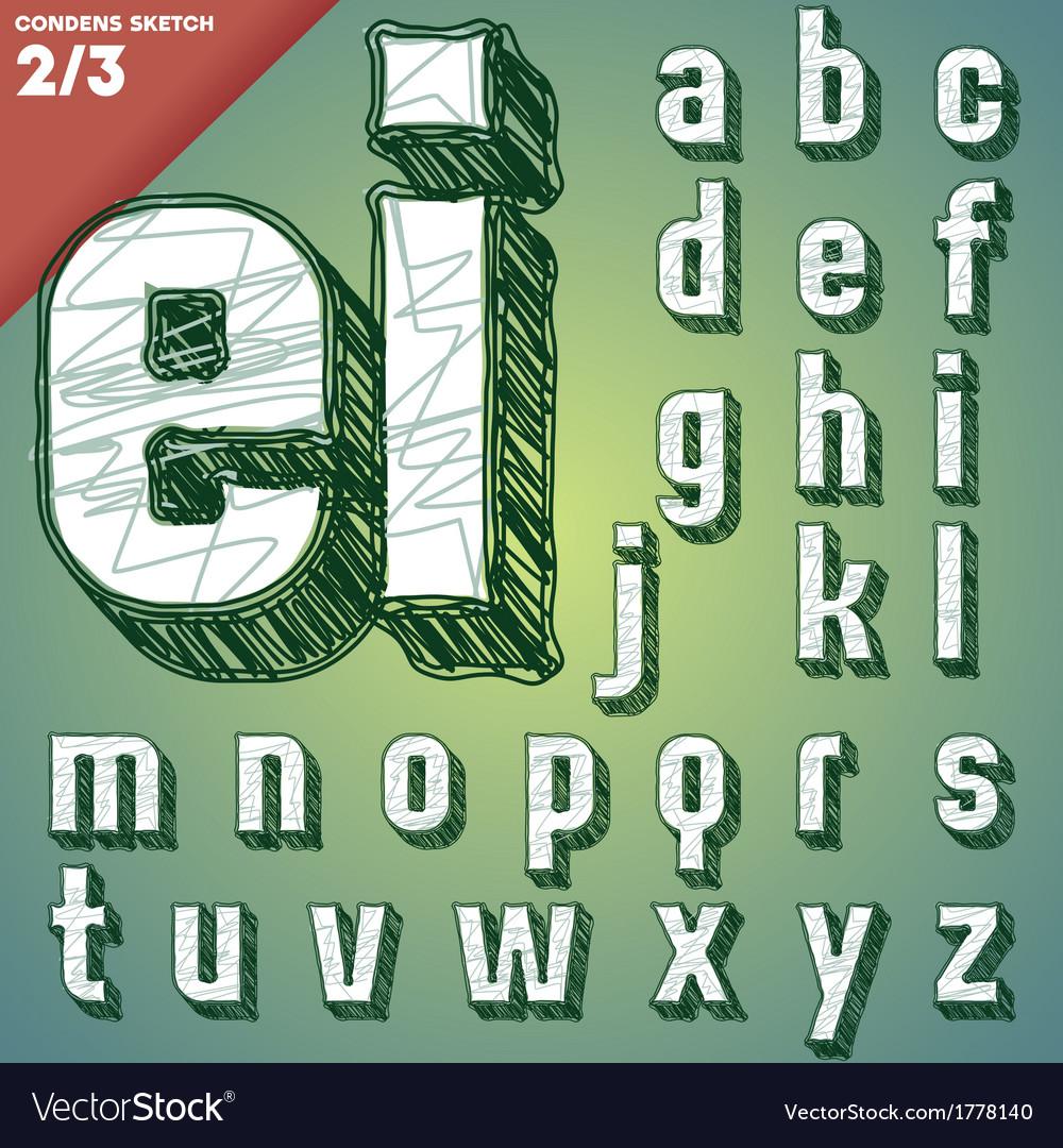 Sketch hand drawing alphabet vector | Price: 1 Credit (USD $1)