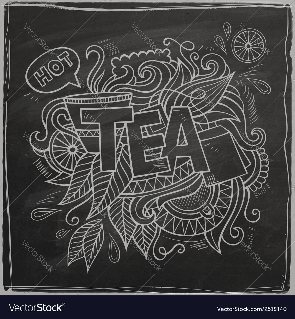 Tea hand lettering and doodles element on vector | Price: 1 Credit (USD $1)