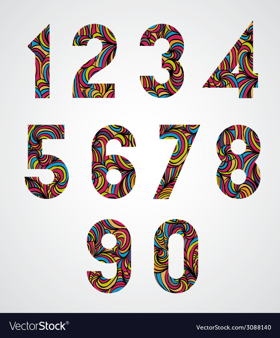 Trendy numbers design decorated with beautiful vector | Price: 1 Credit (USD $1)