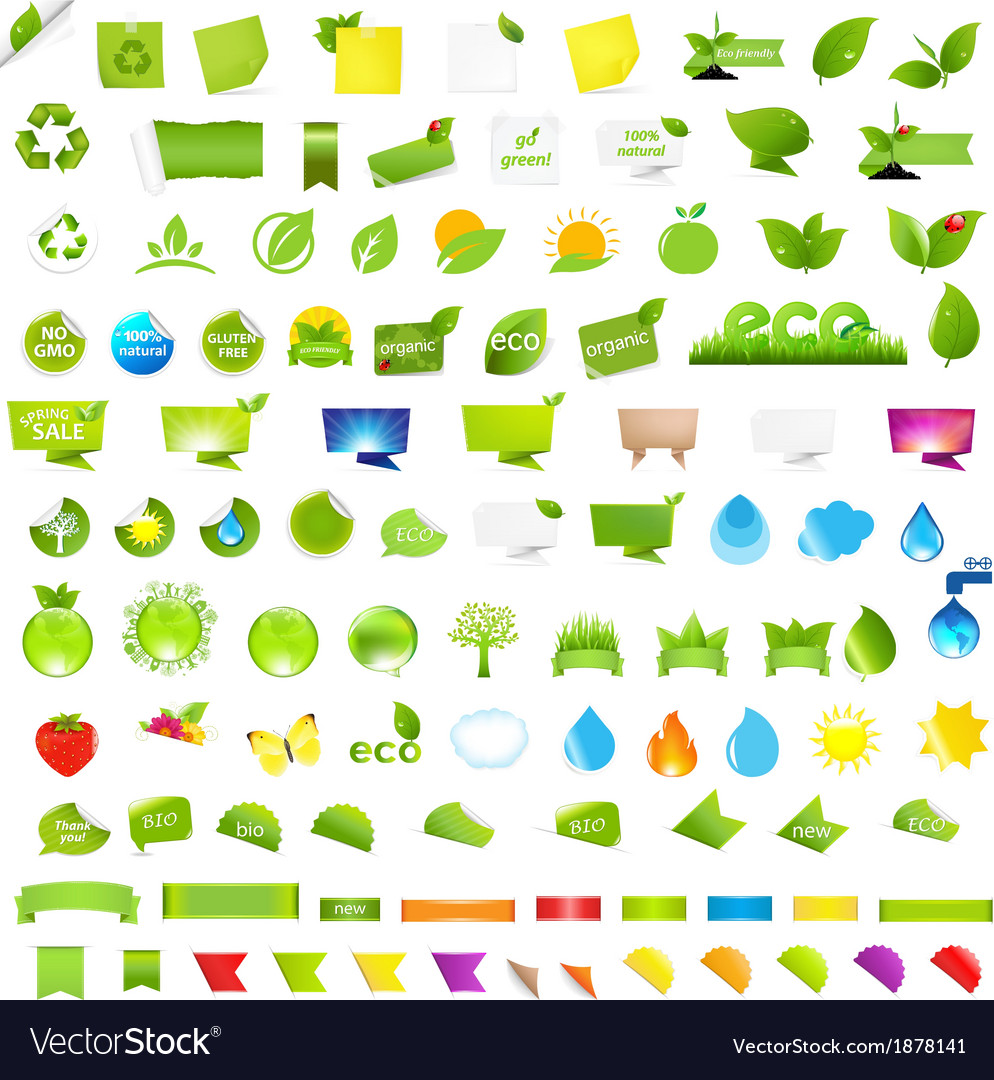 Big nature and eco set with labels vector | Price: 1 Credit (USD $1)