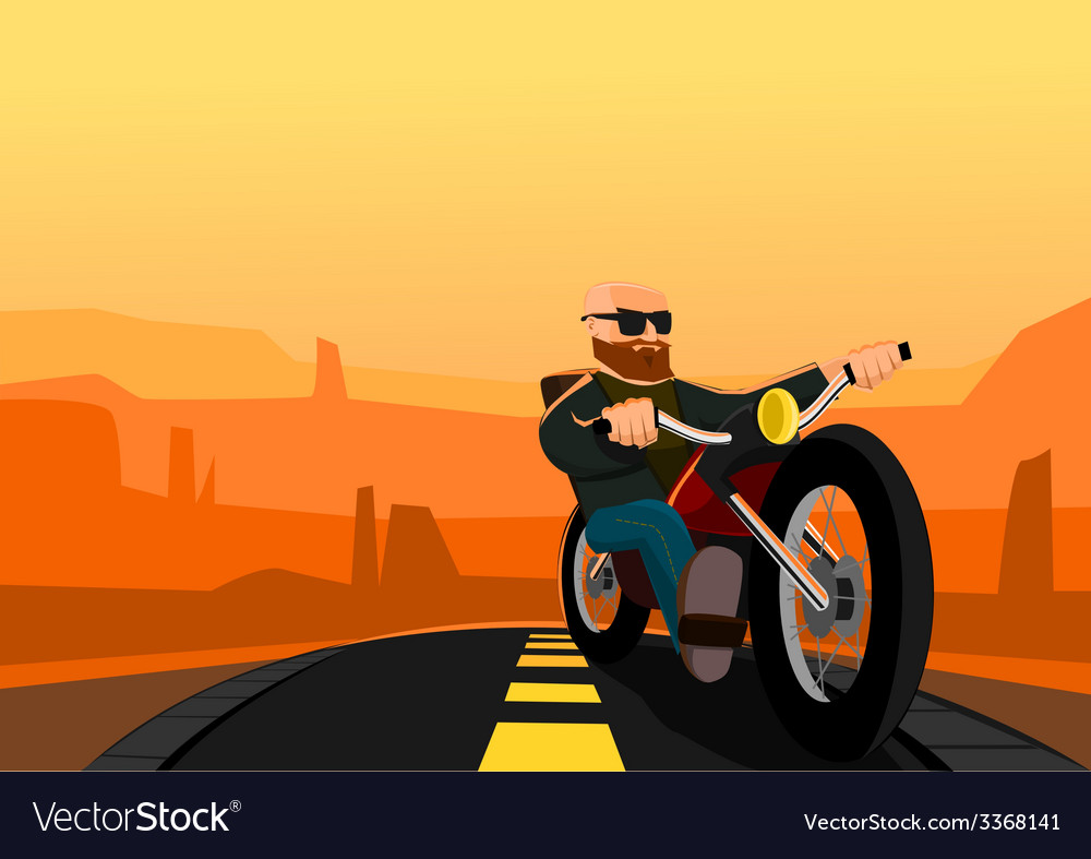 Biker in the desert vector | Price: 1 Credit (USD $1)