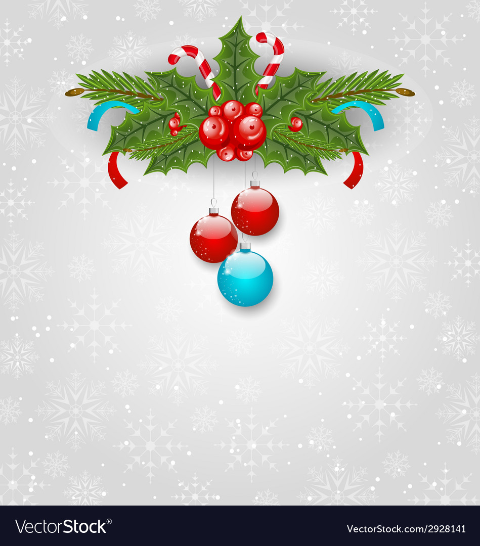 Christmas background with balls holly berry pine vector | Price: 1 Credit (USD $1)
