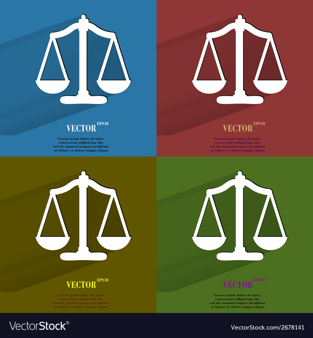 Color set scales balance flat modern web button vector | Price: 1 Credit (USD $1)