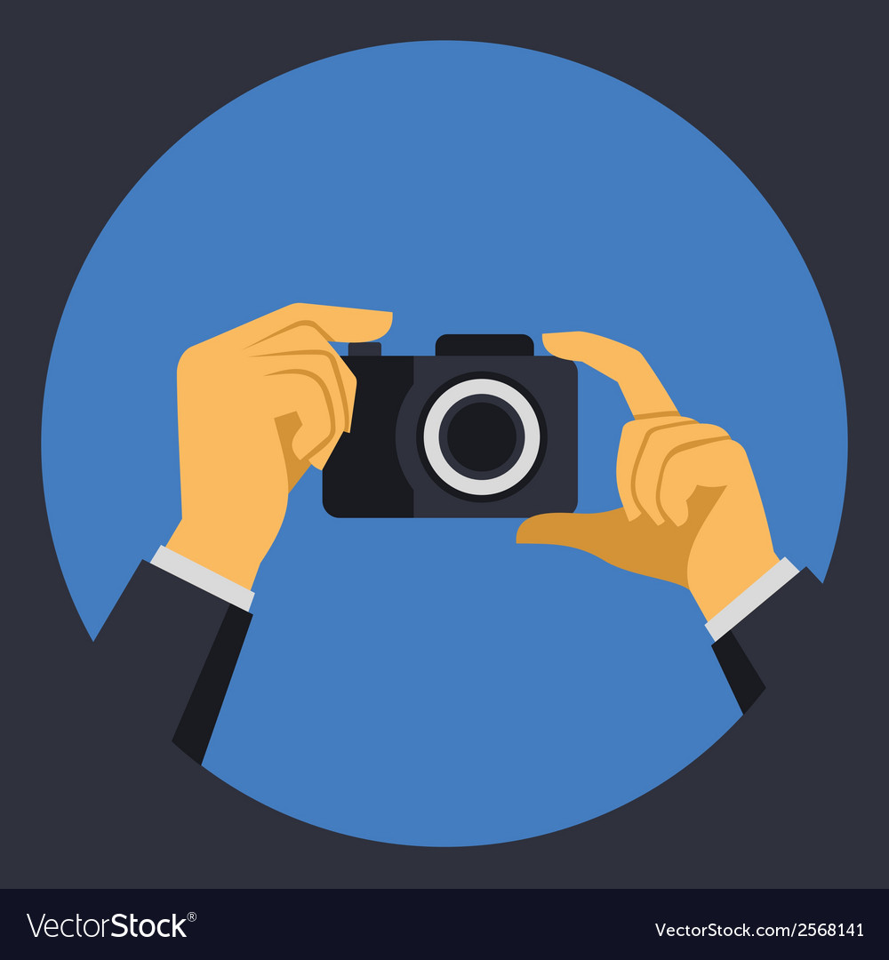 Digital photo camera with hands in flat retro vector | Price: 1 Credit (USD $1)