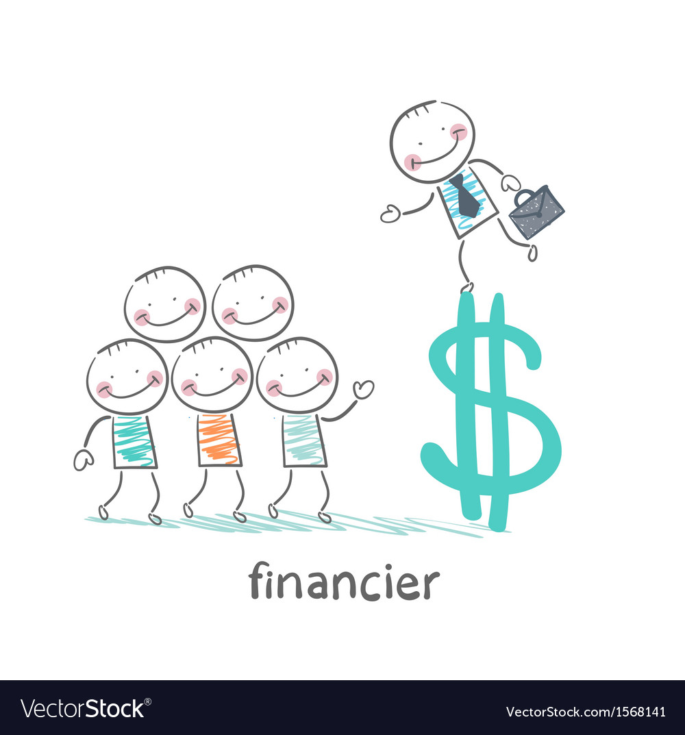 Financier is on the dollar sign and talking with vector | Price: 1 Credit (USD $1)