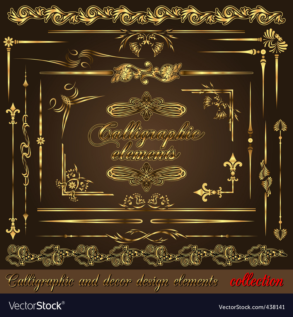 Gold calligraphic vector | Price: 1 Credit (USD $1)