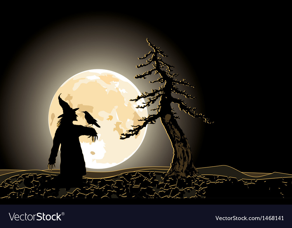 Halloween poster with jack and moon vector | Price: 1 Credit (USD $1)