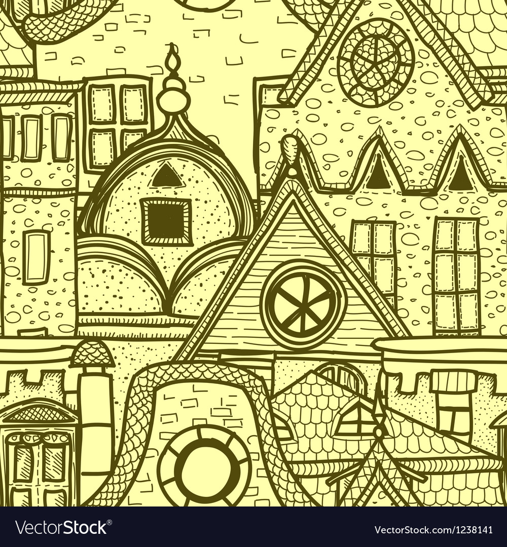 Hand-drawn seamless pattern with old town vector | Price: 3 Credit (USD $3)