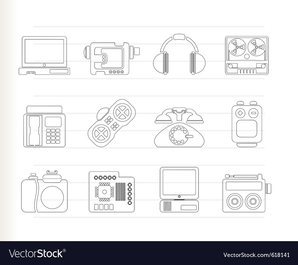 Media and technical equipment icons vector | Price: 1 Credit (USD $1)