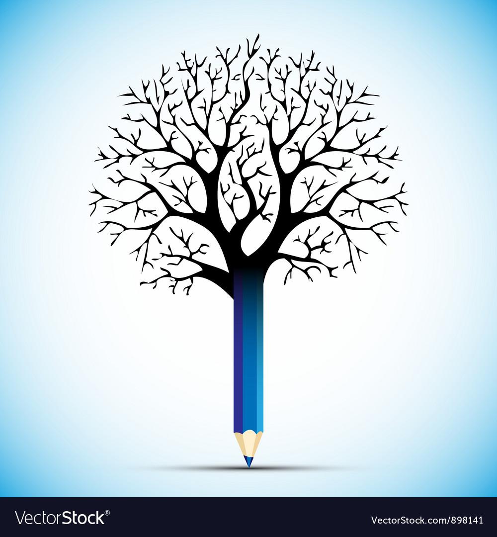 Pencil tree color bulb vector | Price: 1 Credit (USD $1)