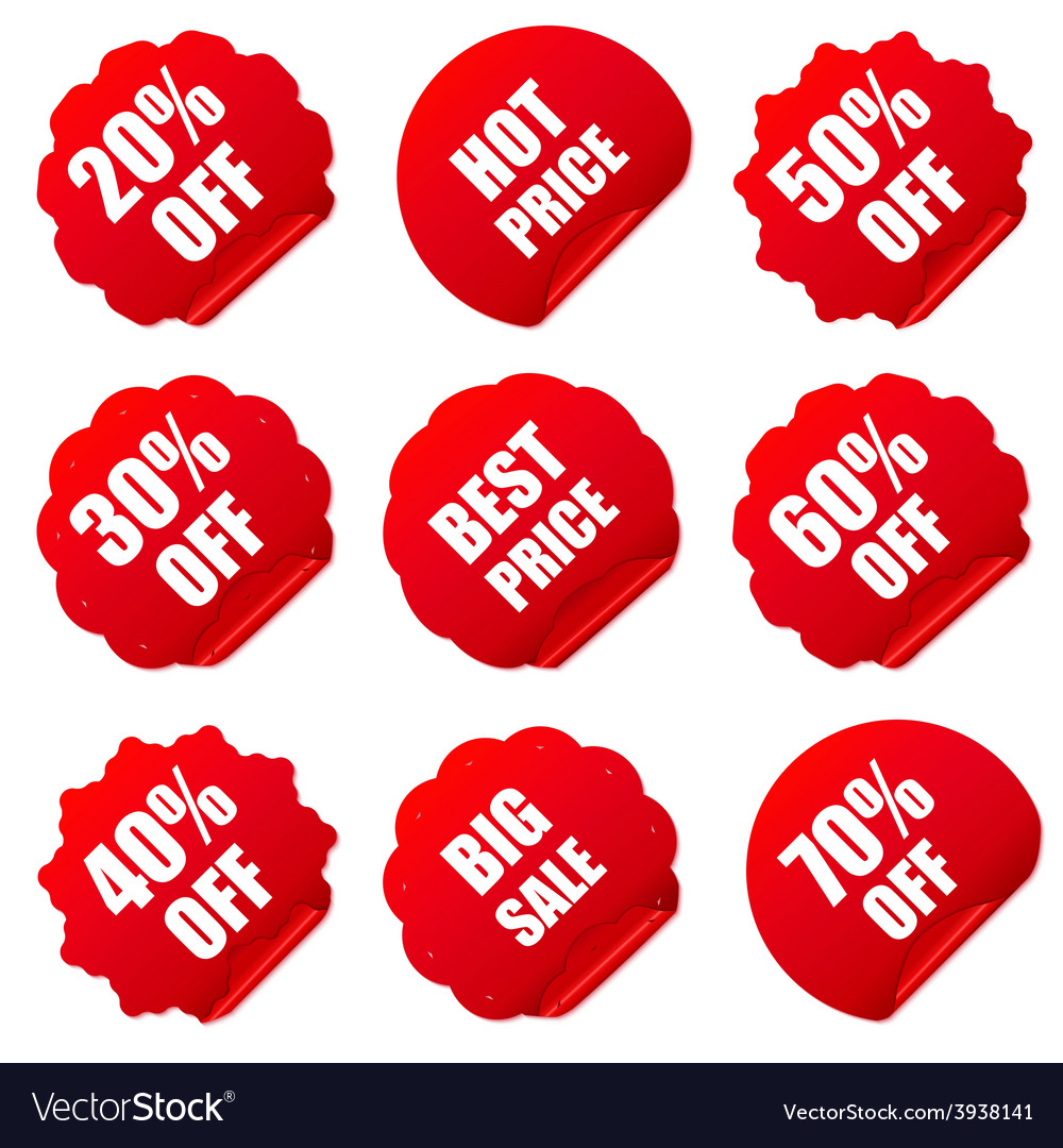 Realistic red discount stickers set vector