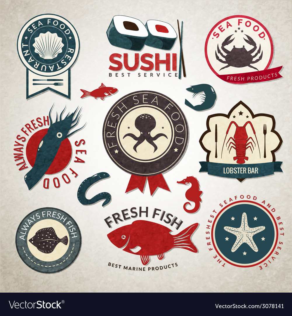 Seafood labels set vector | Price: 1 Credit (USD $1)