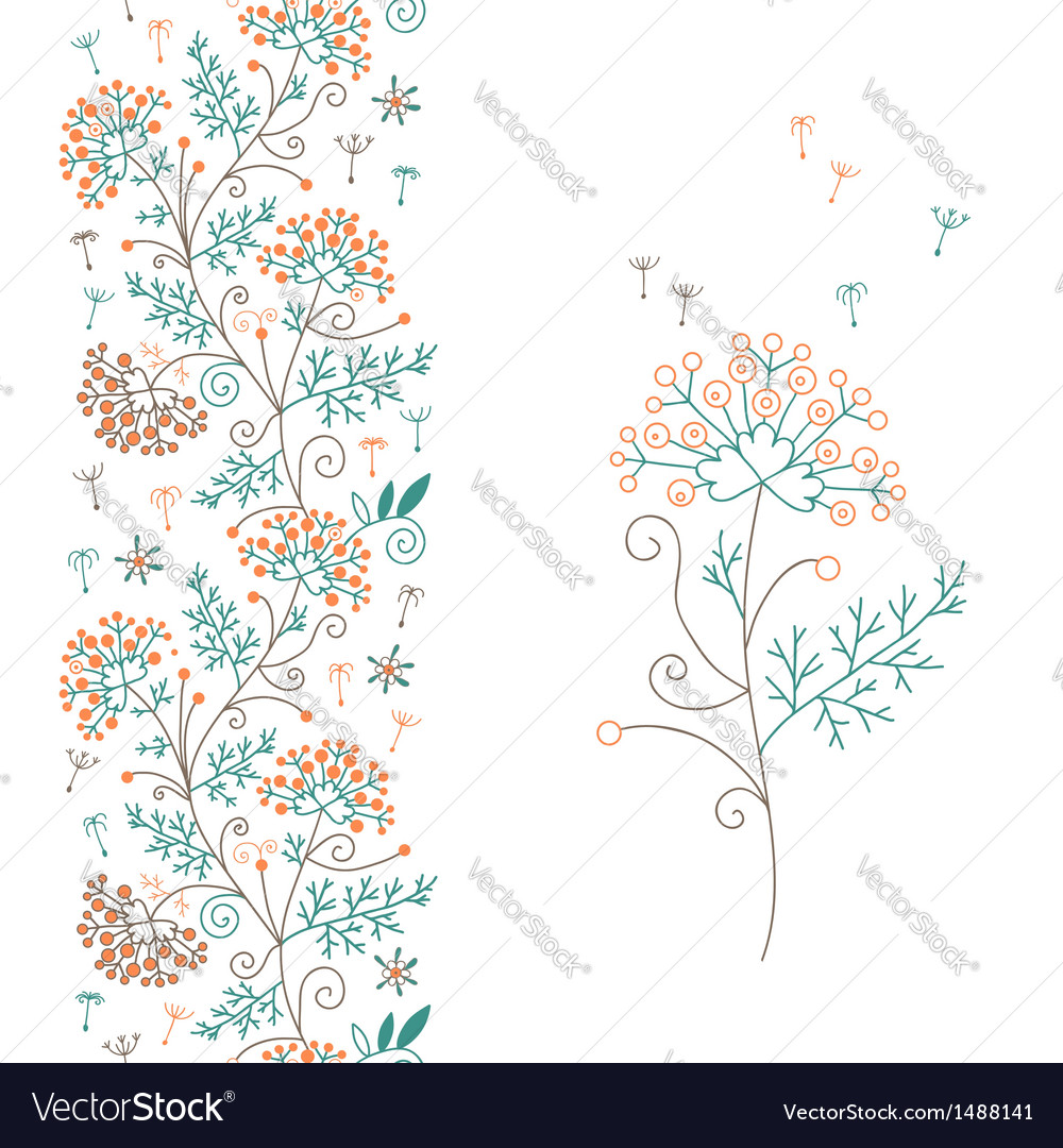 Seamless floral border and flower vector | Price: 1 Credit (USD $1)