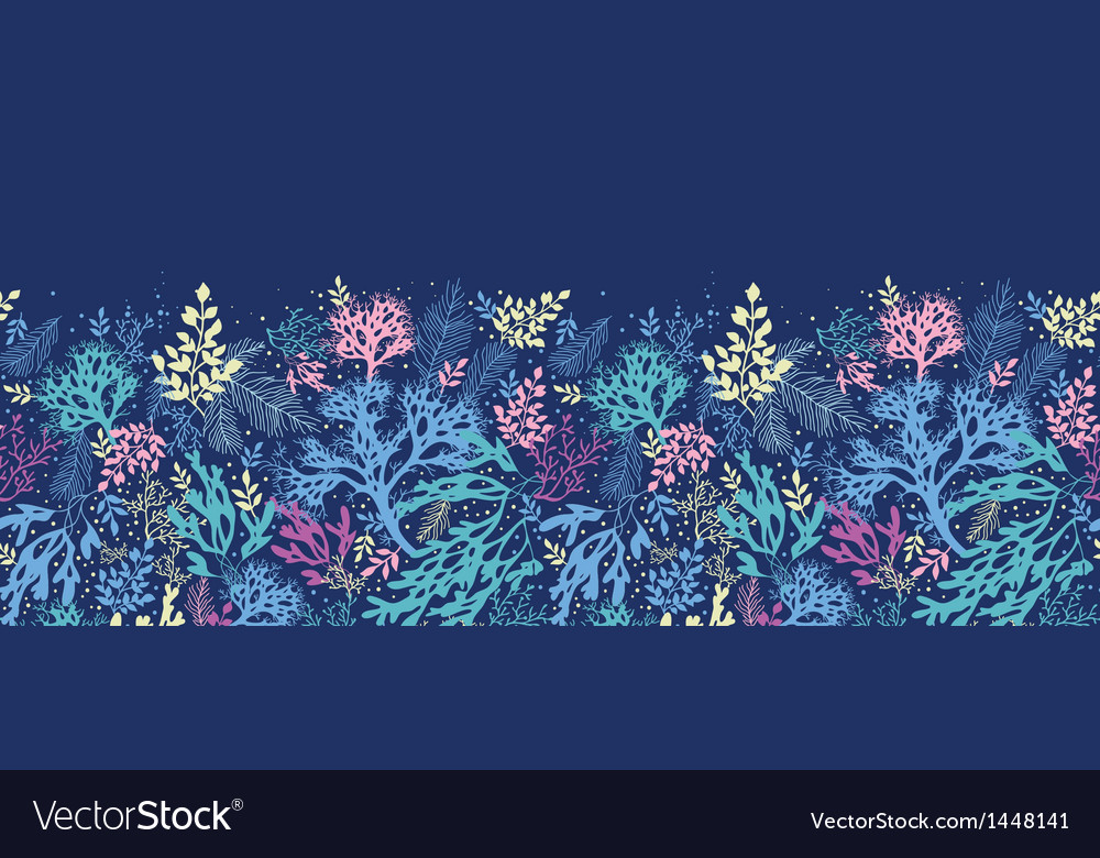 Underwater seaweed horizontal seamless pattern vector | Price: 1 Credit (USD $1)