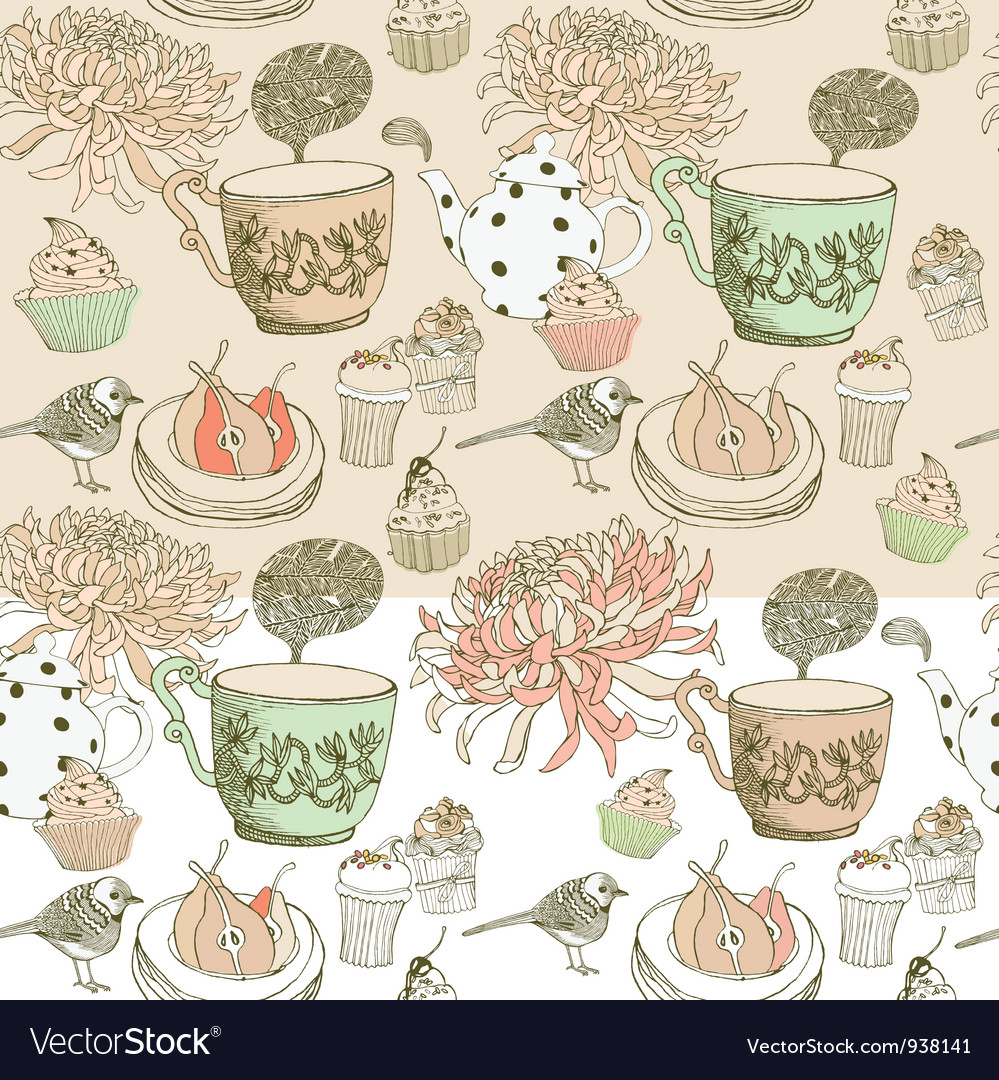 Vintage tea time pattern vector | Price: 1 Credit (USD $1)