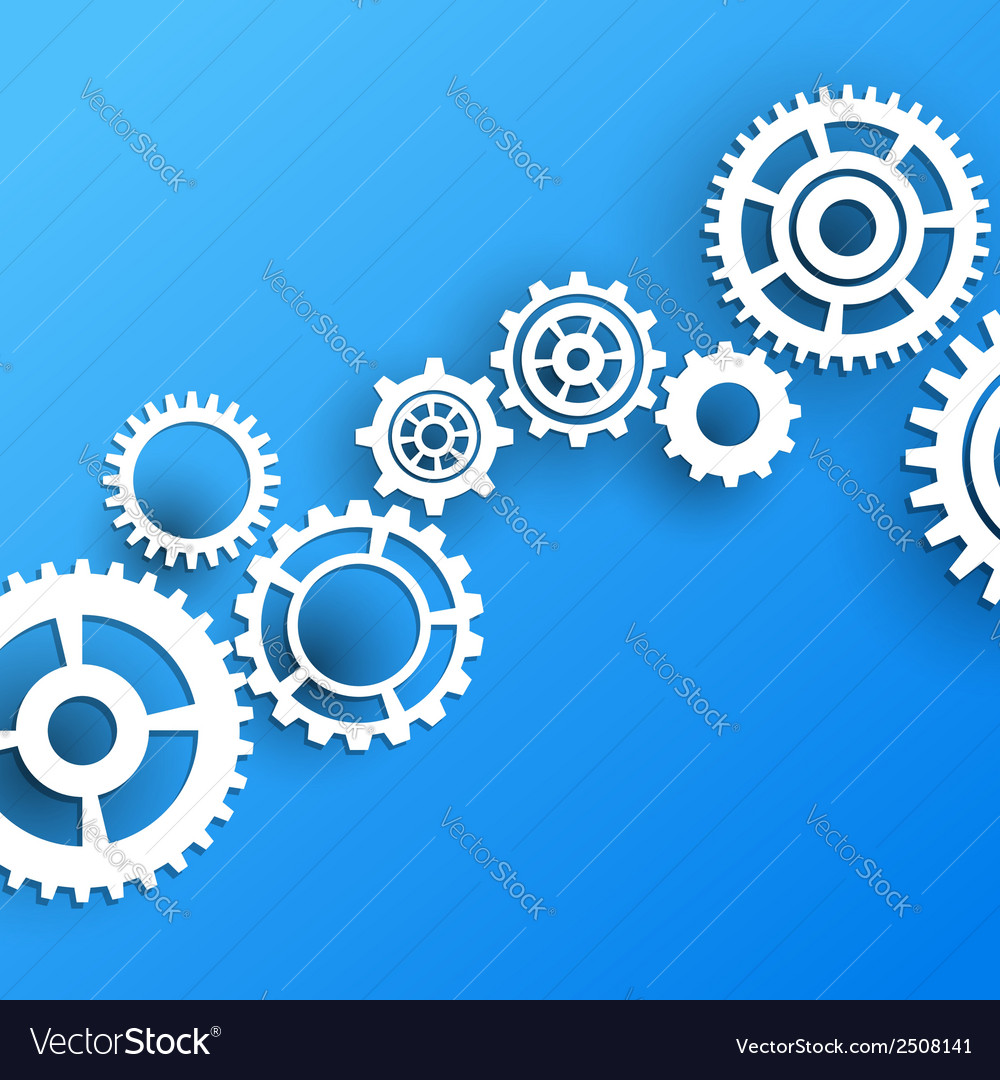 White gear model over blue background vector | Price: 1 Credit (USD $1)