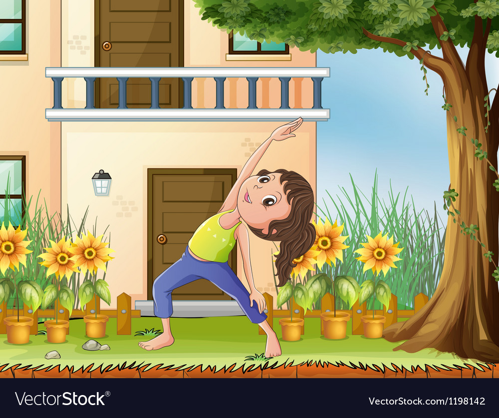 A young girl exercising in front of the house vector | Price: 1 Credit (USD $1)