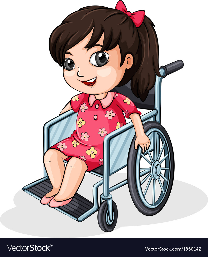 An asian girl riding on a wheelchair vector | Price: 1 Credit (USD $1)