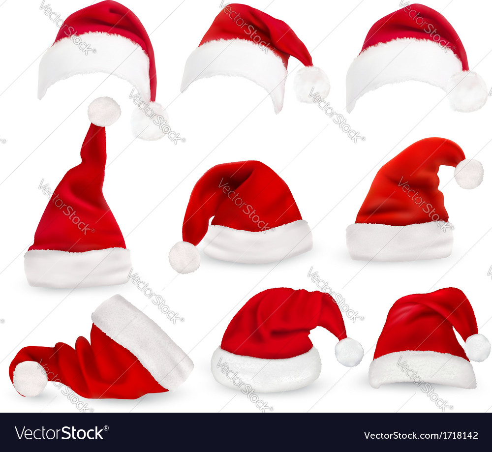 Collection of red santa hats vector   Price: 1 Credit (USD $1)
