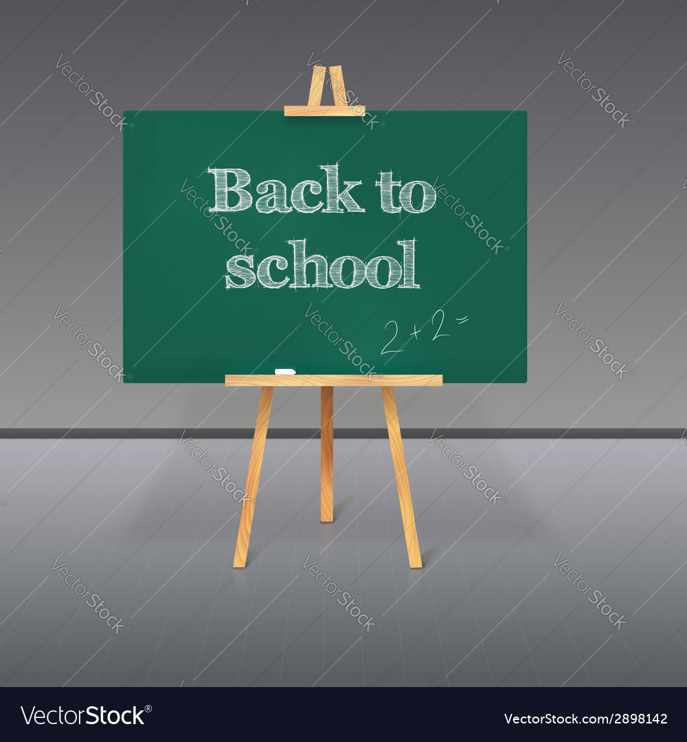 Green school board with chalk on a tripod vector | Price: 1 Credit (USD $1)