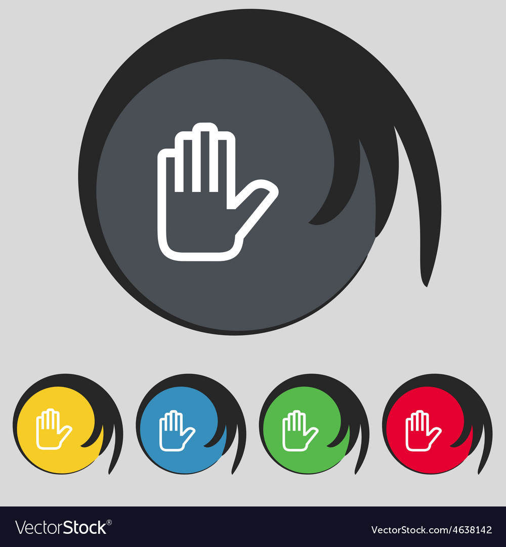 Hand print stop icon sign symbol on five colored vector | Price: 1 Credit (USD $1)